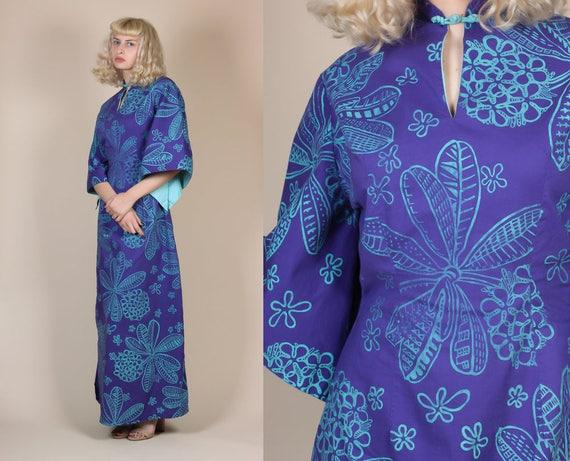 1940s Hawaiian Kimono Sleeve Pake Muu Caftan - Med