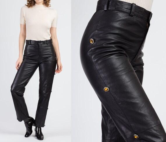 80s Black Leather High Waist Pants - Medium | Vint