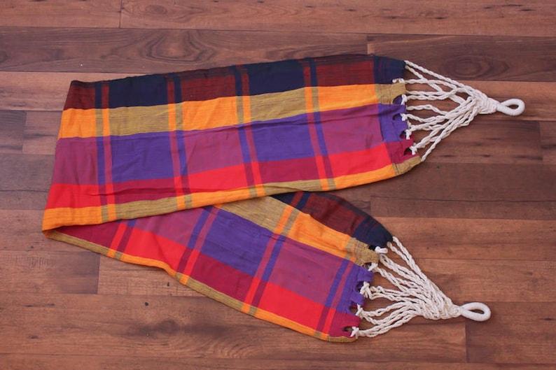 Woven 70s Cotton Bright Multicolored Outdoor Swing Vintage Plaid Hammock