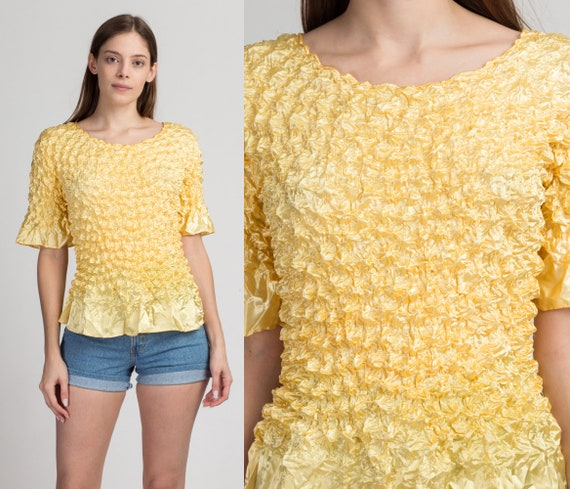 90s Yellow Stretchy Popcorn Crinkle Shirt - One Si