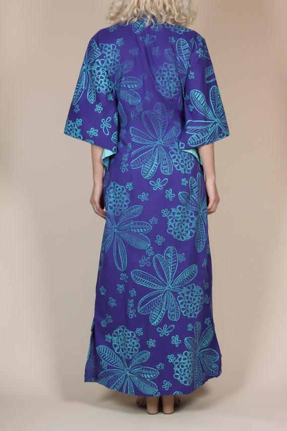 1940s Hawaiian Kimono Sleeve Pake Muu Caftan - Me… - image 5