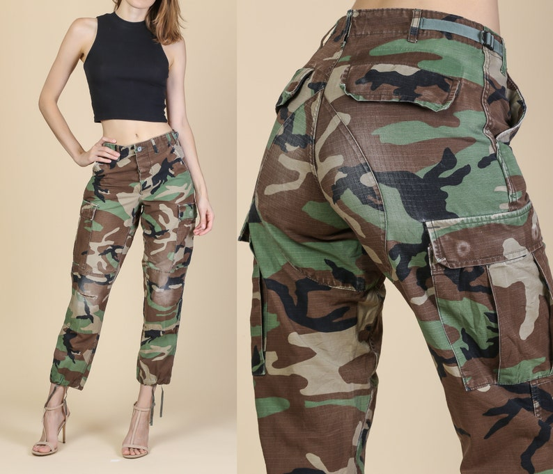 83c52fad20b Vintage High Waisted Camo Army Pants Unisex Extra Small