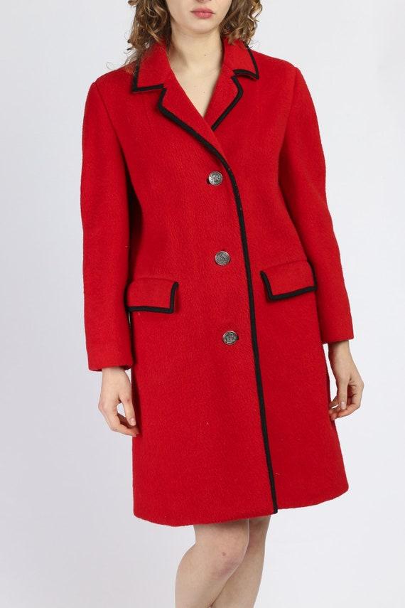 1960s Mohair Wool Shepherd Loden Button Up Coat  S