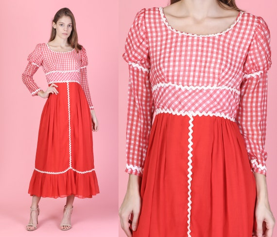 60s Gingham Prairie Maxi Dress - Small   Vintage R