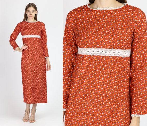 60s Calico Floral Prairie Dress - Extra Small | Vi