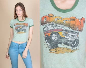 80s Off-Road Diggin' Ringer Tee - Extra Small | Vintage Graphic T Shirt