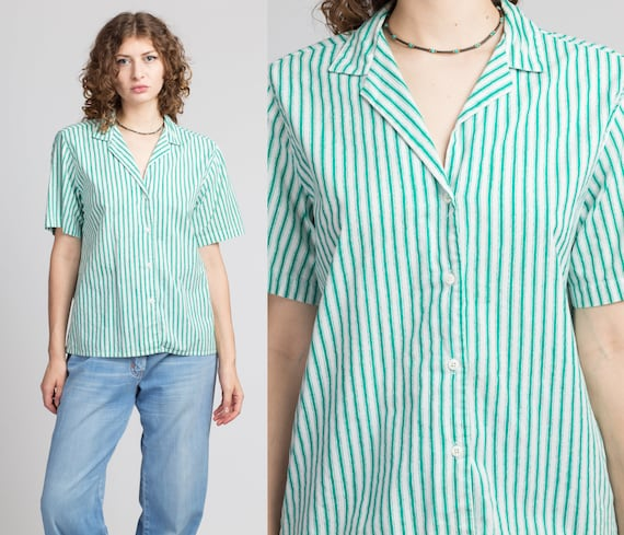80s Green & White Pinstripe Oversize Button Up Top