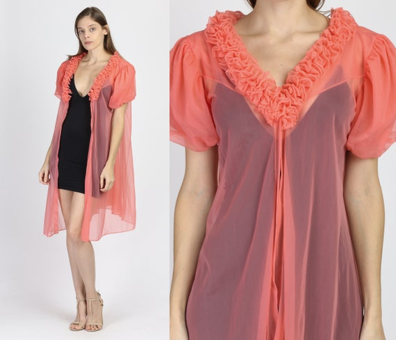 60s Sheer Puff Sleeve Peignoir Robe - Small to Med