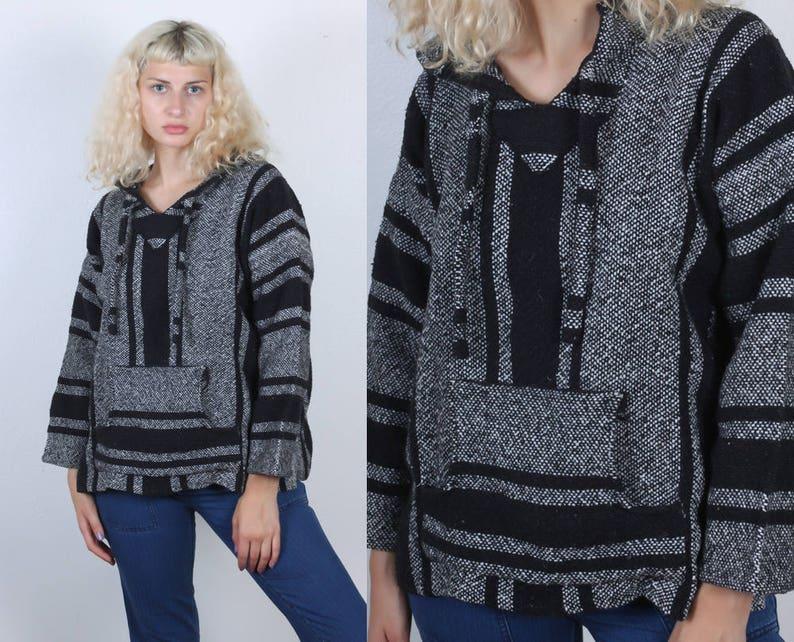 12b0d410acb687 Drug Rug Hoodie 90s Vintage Hooded Mexican Striped Sweater | Etsy