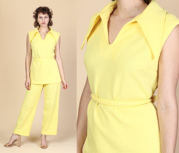 70s Mod Two Piece Outfit - Large | Vintage Yellow