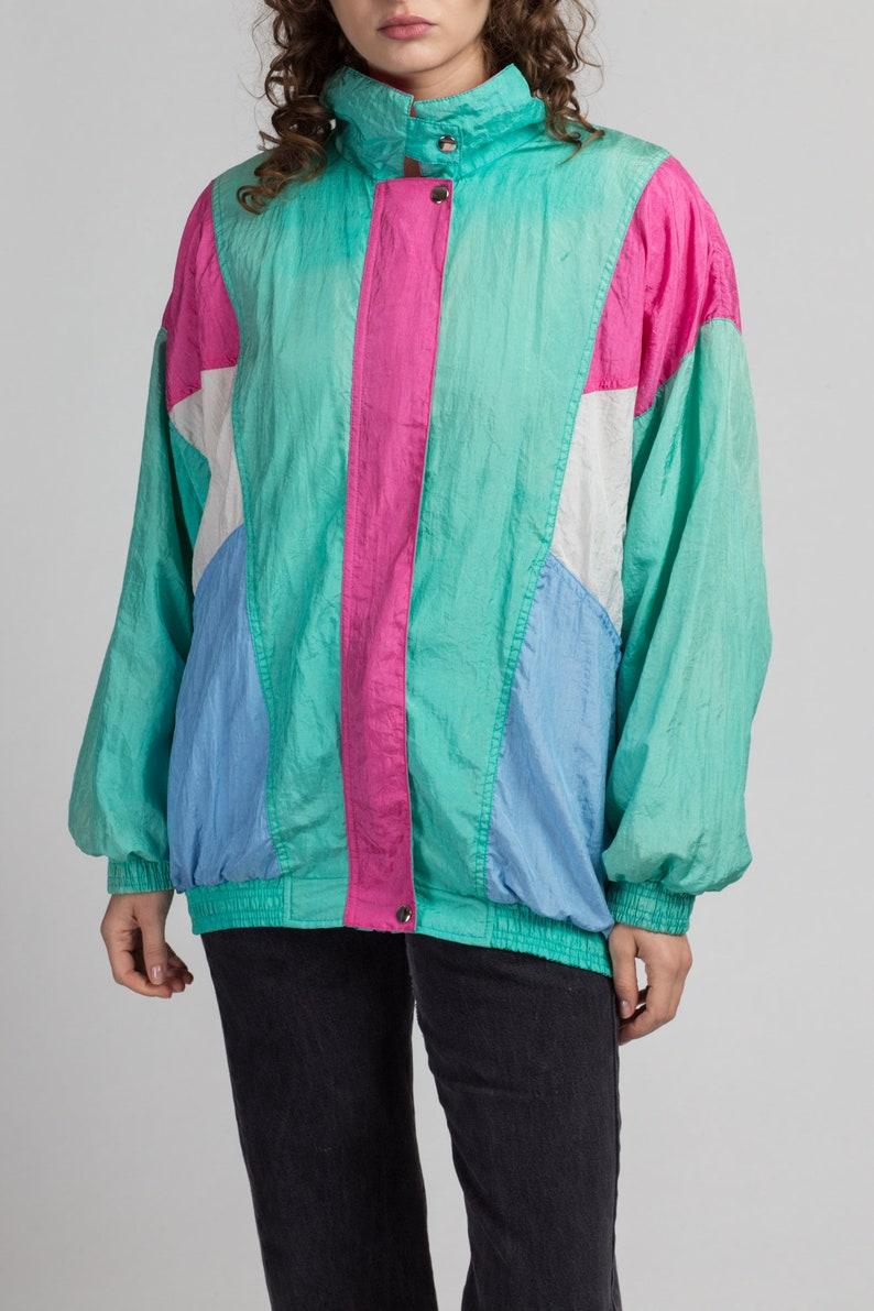 80s Teal Green Color Block Windbreaker Extra Large Vintage Pink Blue Zip Up Track Jacket