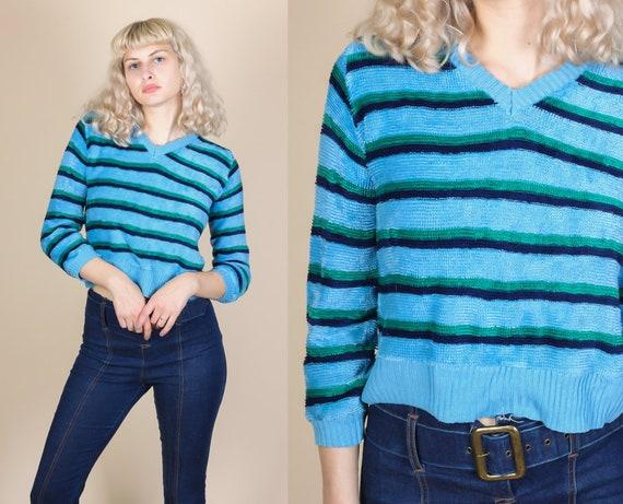 21fd0e23ed2c9b 80s Velour Striped Shirt Medium 80s Cropped Slouchy | Etsy