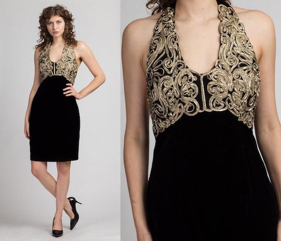 90s Jessica McClintock Velvet Metallic Mini Dress