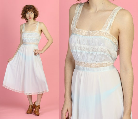1950s Saks Fifth Avenue Nightgown Large | Vintage 50s Sheer Blue White Lace Midi Slip Dress