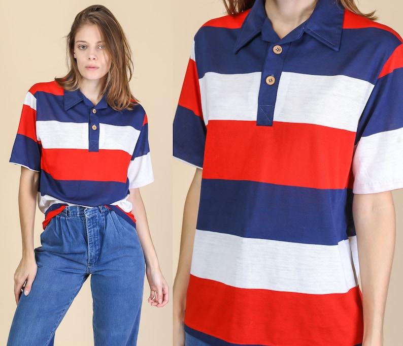 e44c96591a 70s Striped Polo Shirt Men s Medium Vintage Red White
