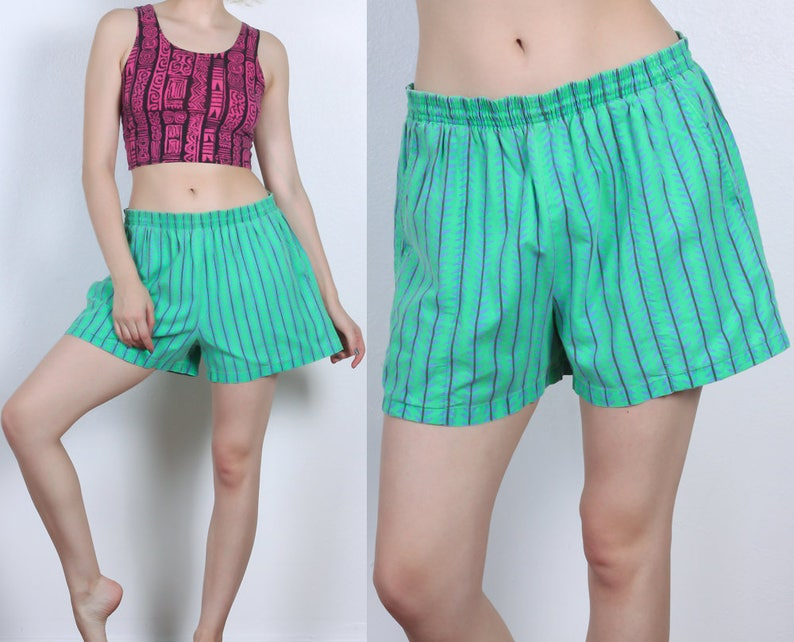 75f4f8be96 Vintage Tribal Swim Shorts 80s Green Swimsuit Trunks Retro | Etsy