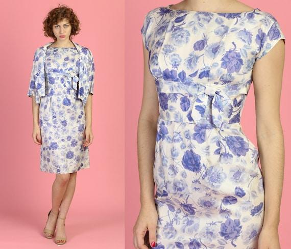 Vintage 50s Aldens Floral Sheath Dress & Jacket -