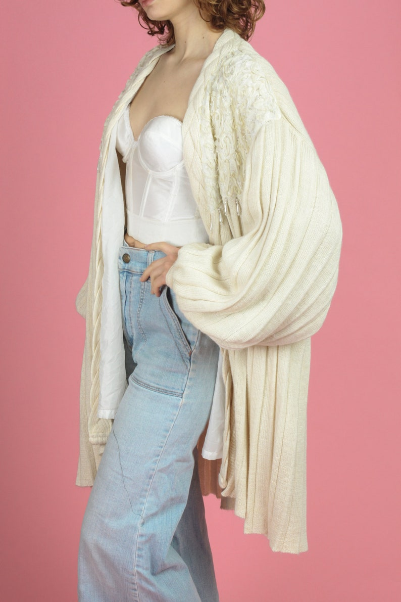 Extra Large Vintage Oversize Beaded Balloon Sleeve Cardigan Slouchy Ribbed Cream Ivory Open Fit Sweater