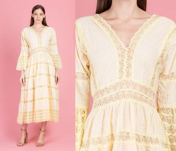 1960s Mexican Yellow Crochet Trim Maxi Dress - Med