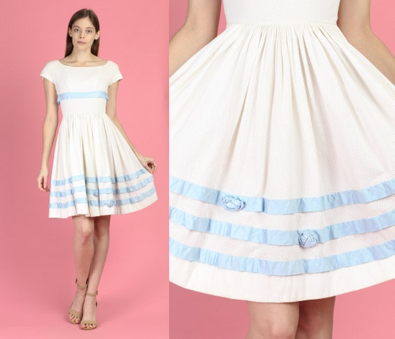 50s 60s Boho White & Blue Cotton Day Dress - XXS |