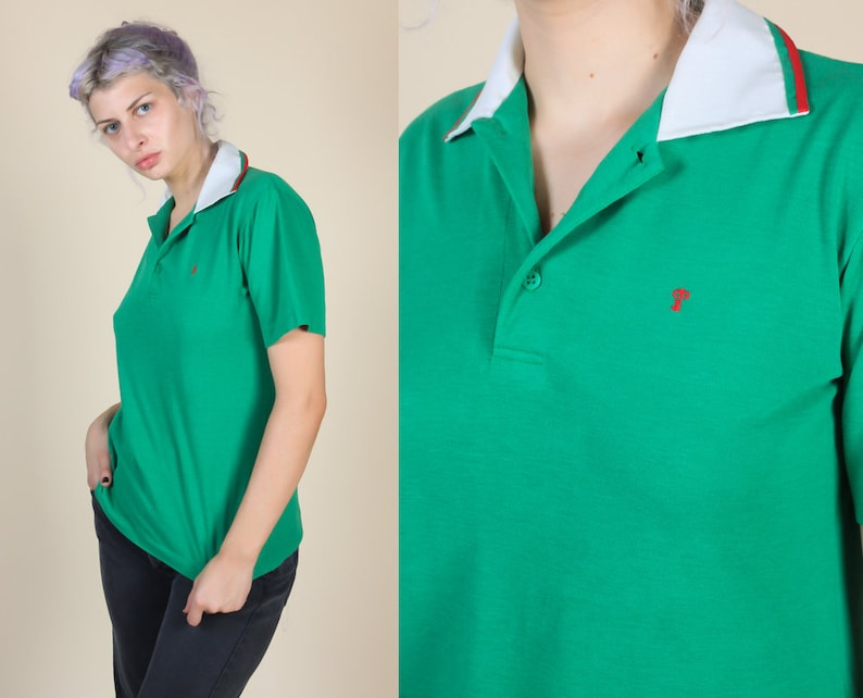 5af8712a1 Vintage Italian Polo Shirt 80s 90s Green White Striped Italy