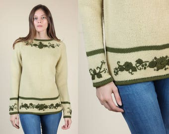 70s Floral Knit Sweater | Vintage Green Boho Wool Pullover Jumper - Small/Medium