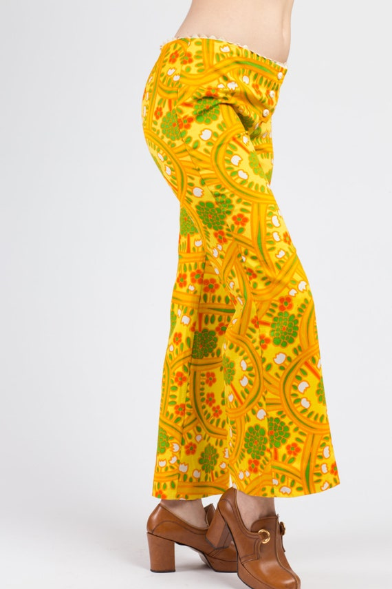 70s Lanz Psychedelic Yellow Flared Pants - Medium… - image 4