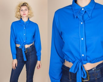70s Pointed Collar Tie Waist Crop Top - Medium to Large | Vintage Button Up Contrast Stitch Cropped Blouse