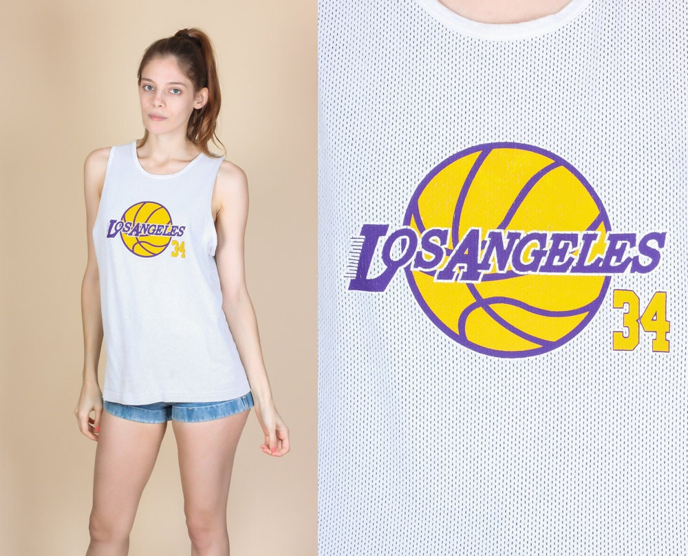 90s LA Lakers Shaq Jersey   Vintage NBA Basketball Shaquille O'Neal 34 Tank Top