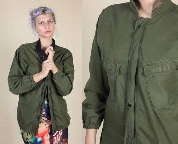 Vintage Military Jacket Chemical Protective Olive Drab Coat  5c857bdca50