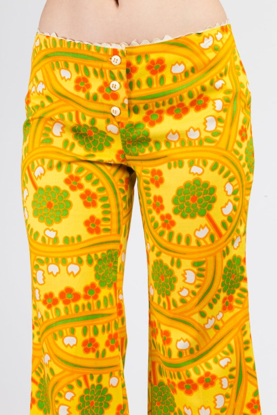 70s Lanz Psychedelic Yellow Flared Pants - Medium… - image 6