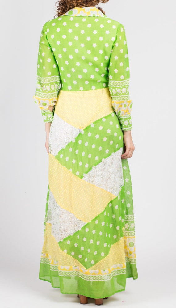 60s Floral Patchwork Hostess Maxi Dress - Small |… - image 5