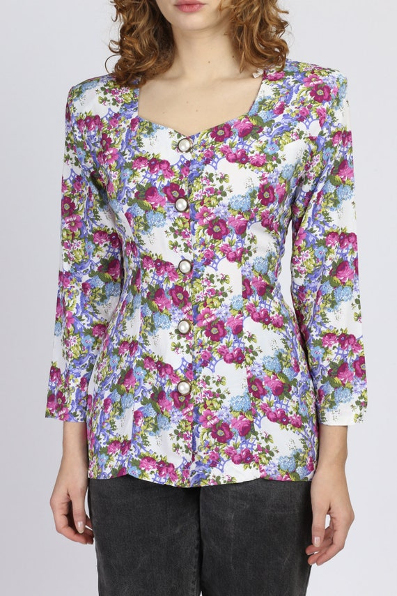 90s Floral Corset Lace Up Top - Small | Vintage R… - image 2