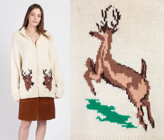 70s Deer Cowichan Cardigan Sweater - Extra Large |