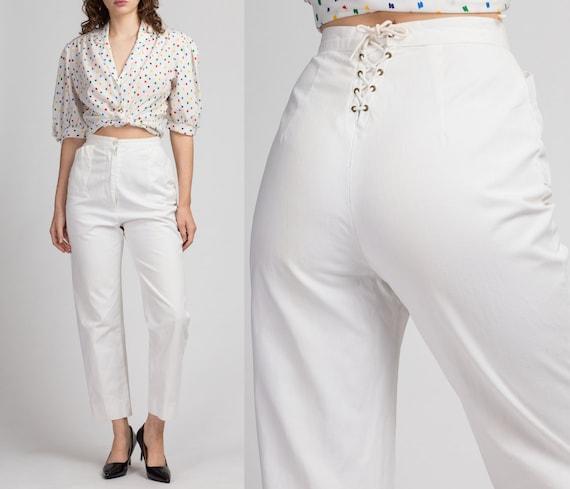 80s White Corset Back Tie Sailor Pants - Small, 26