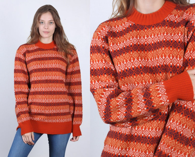 d826d7778fdff7 Vintage Fair Isle Sweater 70s 80s Oversized Orange Striped