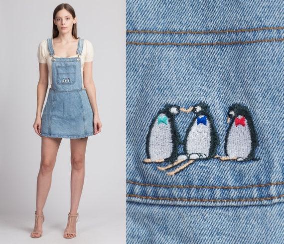 90s Denim Penguin Overall Romper Mini Dress - Medi