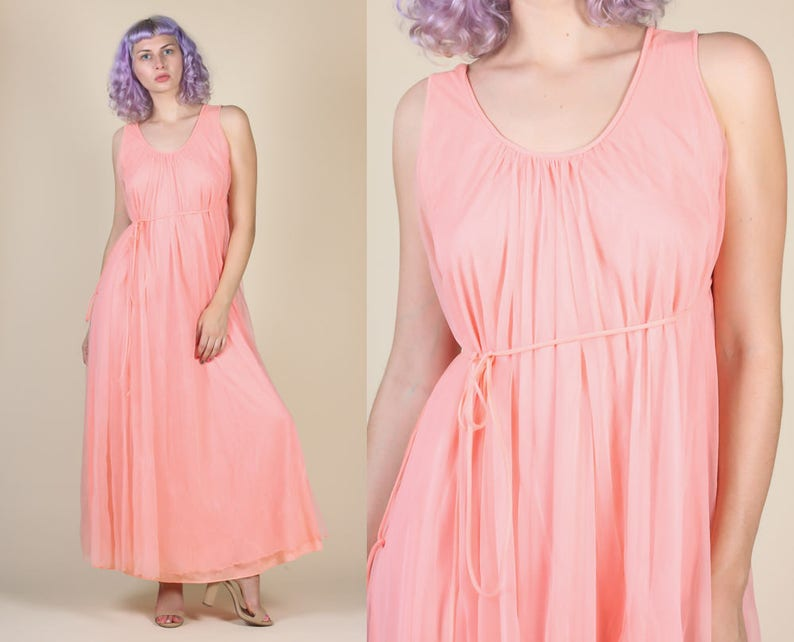 c1ab8a654960f 70s Maxi Slip Vintage Intime California Pink Sheer Belted | Etsy