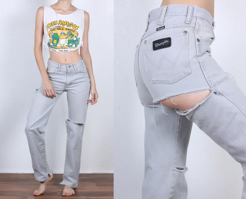 97683075205b 80s Wrangler Jeans Vintage Ripped Denim Pants Straight Leg | Etsy