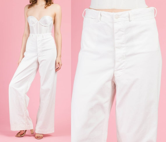 70s White High Waisted Unisex Sailor Pants - 31.5""