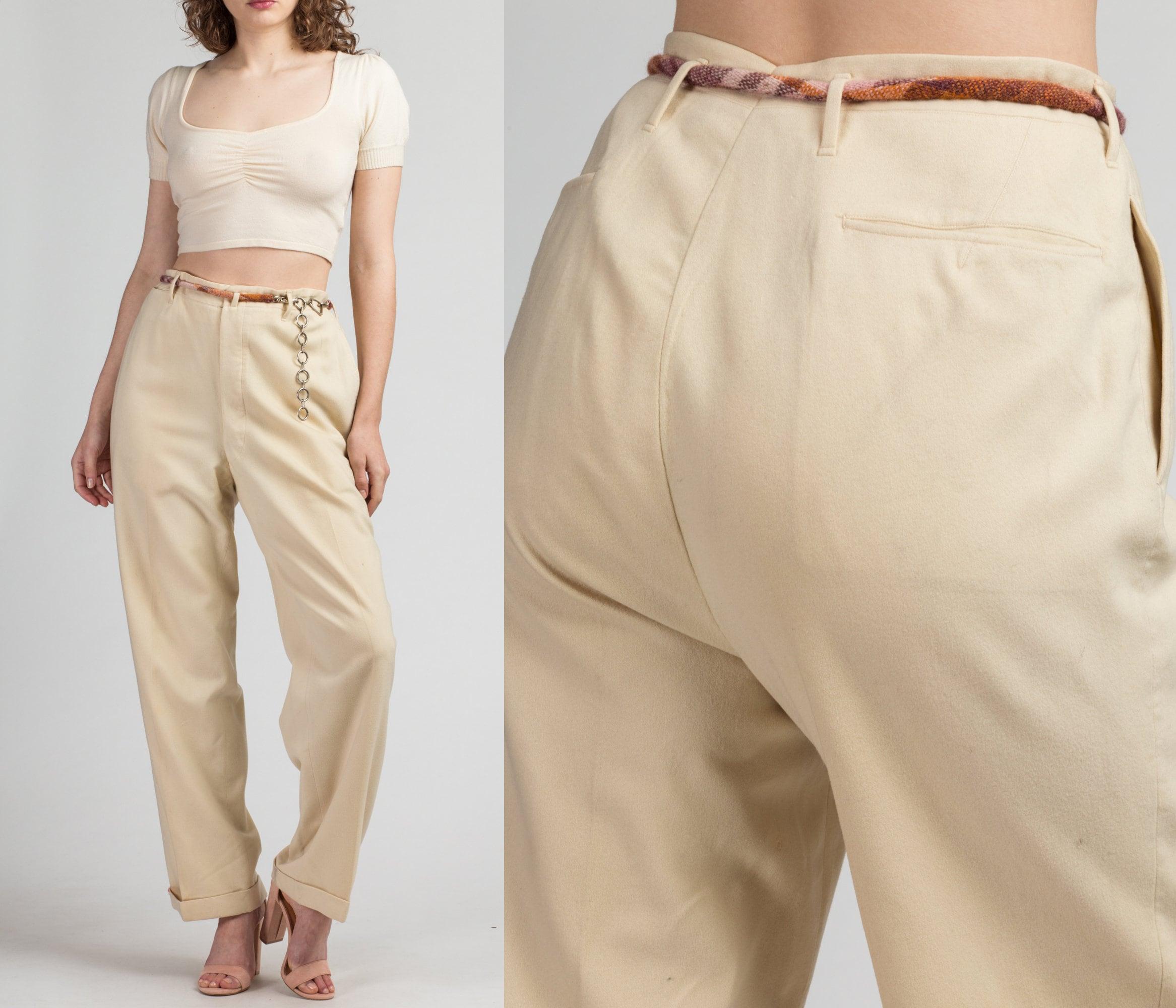 1950s Mens Suits & Sport Coats   50s Suits & Blazers Vintage 50S 60S Cream Wool High Waisted Pants - Mens Medium, Womens Large, 33  Formal Suspender Button Suit Trousers $19.95 AT vintagedancer.com