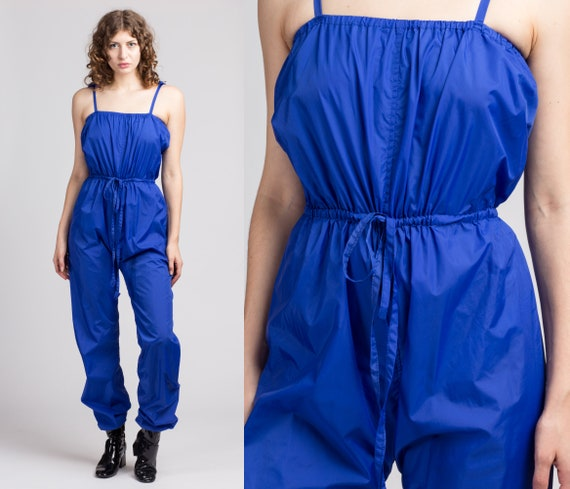 80s Blue Nylon Jumpsuit - Small | Vintage Cinched