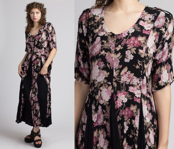 90s Boho Black Floral Maxi Dress - Large | Vintag… - image 1