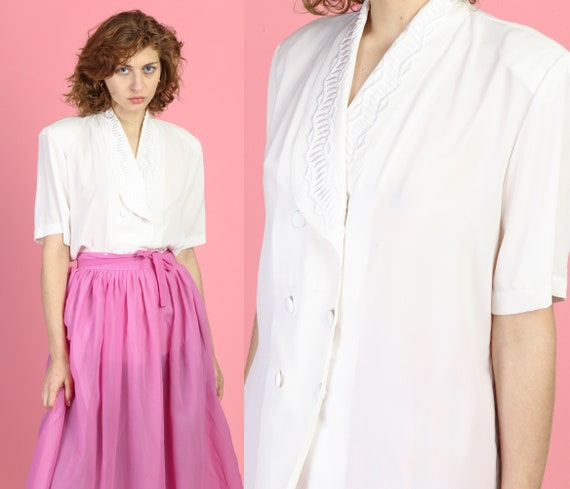 80s White Embroidered Collar Blouse - Large   Vint