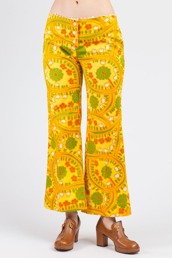 70s Lanz Psychedelic Yellow Flared Pants - Medium… - image 3