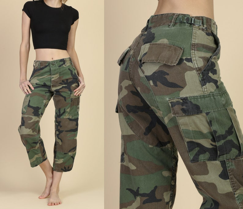 355fd5648c4 High Waist Army Camo Pants Unisex Extra Small Vintage 80s