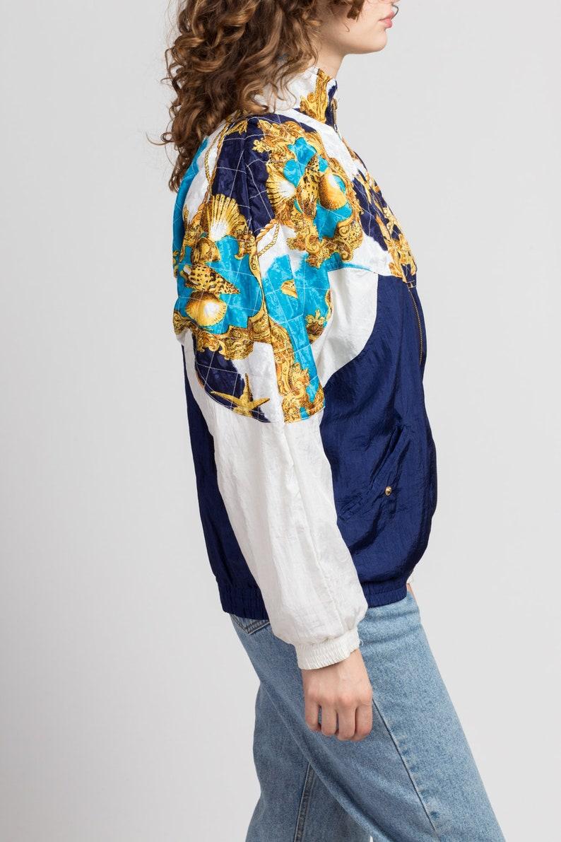 Men/'s Medium Vintage Seashell Starfish Print Lightweight Jacket 80s Baroque Nautical Windbreaker