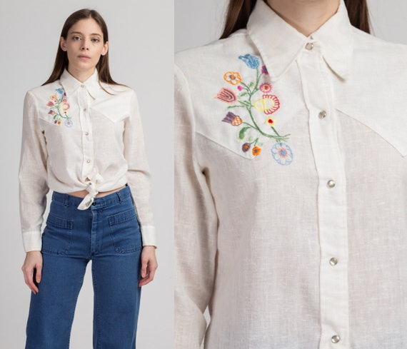 70s Levi's Floral Embroidered Shirt - Men's Small