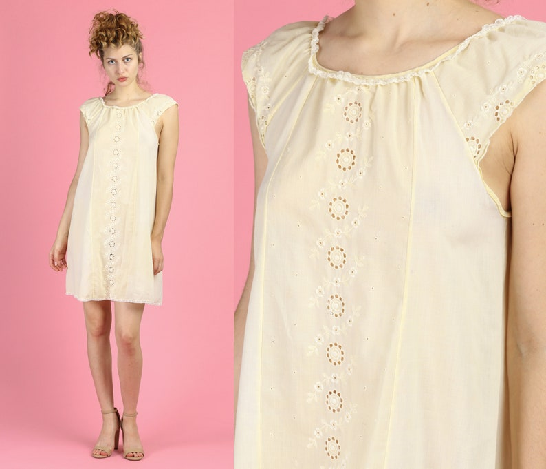 Vintage Yellow Boho Sleeveless Tent Nightgown 60s Floral Eyelet Mini Nightie Large