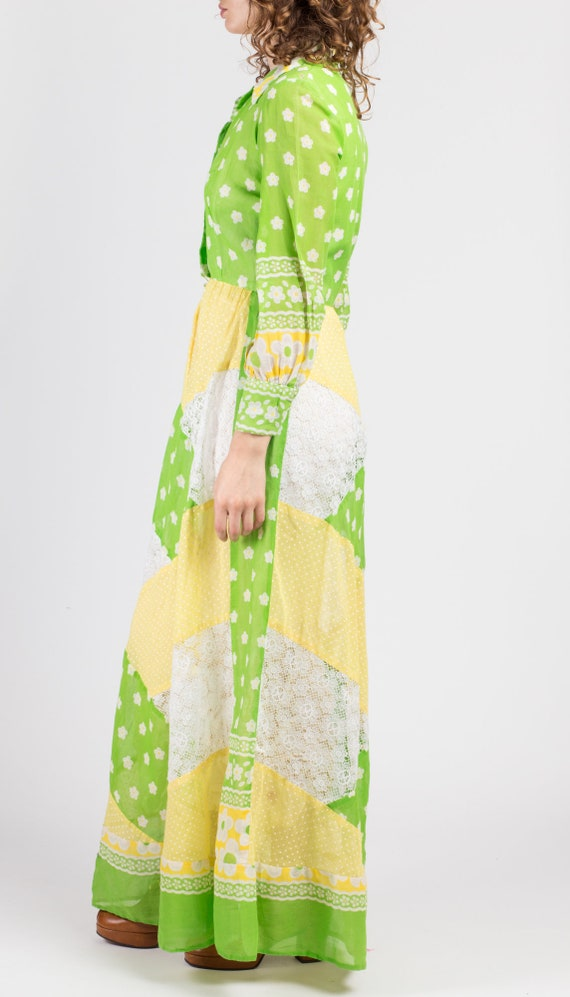 60s Floral Patchwork Hostess Maxi Dress - Small |… - image 4